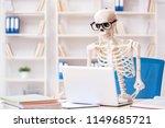 skeleton businessman working in ... | Shutterstock . vector #1149685721