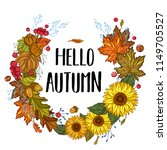 hello autumn. fall wreath with... | Shutterstock .eps vector #1149705527