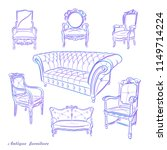 set of hand drawn antique... | Shutterstock .eps vector #1149714224