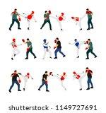 trainer and taekwondo fighter... | Shutterstock .eps vector #1149727691