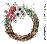 watercolor tree wreath with...   Shutterstock . vector #1149741767
