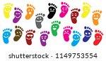 baby feet footprints vector eps ... | Shutterstock .eps vector #1149753554