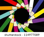 colored pencils  black... | Shutterstock .eps vector #114977089