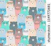 hand drawn bears vector pattern ... | Shutterstock .eps vector #1149773681