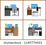 desk. set of isolated objects.... | Shutterstock .eps vector #1149774431
