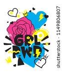 grl pwr short quote. girl power ... | Shutterstock .eps vector #1149806807