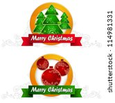 two christmas round label with... | Shutterstock .eps vector #114981331