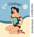 pin up sexy girl vector... | Shutterstock .eps vector #114981394