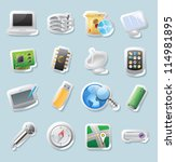 sticker button set. icons for... | Shutterstock . vector #114981895