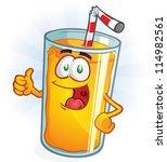 orange juice cartoon character... | Shutterstock .eps vector #114982561
