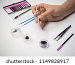 hand holding tweezers with...   Shutterstock . vector #1149828917