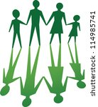 silhouette of family, in green tone. - stock vector