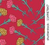 carnation flowers seamless... | Shutterstock .eps vector #114987847
