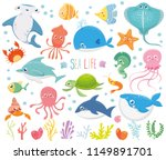 set with funny sea animals.... | Shutterstock .eps vector #1149891701
