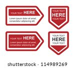 set of four red bookmarks | Shutterstock .eps vector #114989269
