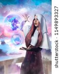 beautiful sorceress holding a... | Shutterstock . vector #1149893327