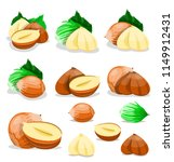 hazelnuts with leaves set.... | Shutterstock .eps vector #1149912431