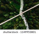 top aerial view of rope walkway ...