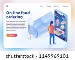 on line food ordering. online... | Shutterstock .eps vector #1149969101