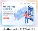 on line food ordering. online... | Shutterstock .eps vector #1149969101