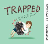 businesswoman trapped rope trap ... | Shutterstock .eps vector #1149973601