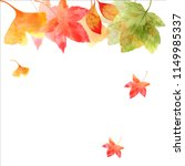 watercolor autumn leaves with... | Shutterstock . vector #1149985337