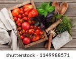 fresh garden tomatoes with... | Shutterstock . vector #1149988571
