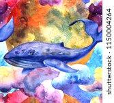 hand drawn watercolor seamless... | Shutterstock . vector #1150004264