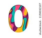 alphabet paper cut number zero... | Shutterstock .eps vector #1150032107