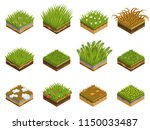 grass and soil layers isometric ...