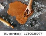 woman hand preparing christmas... | Shutterstock . vector #1150035077
