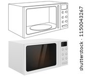 microwave oven. outline drawing ... | Shutterstock . vector #1150043267