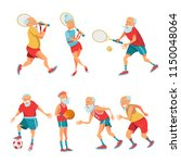 set of elderly athletes. older... | Shutterstock .eps vector #1150048064