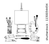 a set with an easel and various ... | Shutterstock .eps vector #1150054454