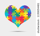 many colorful pieces puzzle... | Shutterstock .eps vector #1150054481