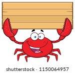 crab cartoon mascot character... | Shutterstock . vector #1150064957