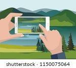 mobile photography concept. man ... | Shutterstock .eps vector #1150075064