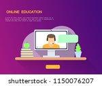 online teacher on the monitor... | Shutterstock .eps vector #1150076207
