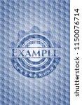 example blue polygonal badge. | Shutterstock .eps vector #1150076714