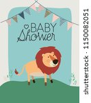 baby shower card with cute lion | Shutterstock .eps vector #1150082051