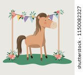 baby shower card with cute horse | Shutterstock .eps vector #1150082327