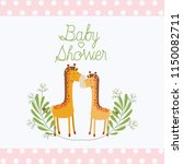 baby shower card with cute... | Shutterstock .eps vector #1150082711