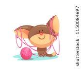 vector cartoon kitten with pink ... | Shutterstock .eps vector #1150084697