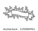 tape frame with leafs | Shutterstock .eps vector #1150084961
