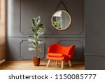 round mirror hanging on the... | Shutterstock . vector #1150085777