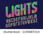 lights alphabet. glowing... | Shutterstock .eps vector #1150087214