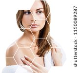 beautiful female face in... | Shutterstock . vector #1150089287