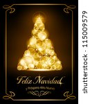"Warmly sparkling Christmas tree made of our of focus  lights on dark brown background with the text ""Feliz Navidad y Pr�³spero A�±o Nuevo""."