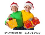 Two smiling kids in Santa hats with gift boxes, isolated on white - stock photo