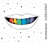 hand drawn rainbow teeth in... | Shutterstock .eps vector #1150115447